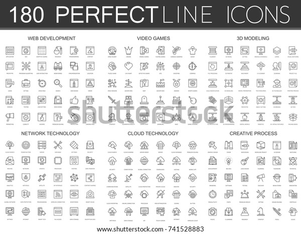 180 modern thin line icons set of web development, video games, 3d modeling, network technology, cloud data technology, creative process.
