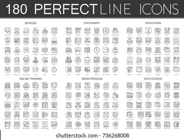 180 outline mini concept icons symbols of school, stationery, education, online training, brain mind process, data science icon