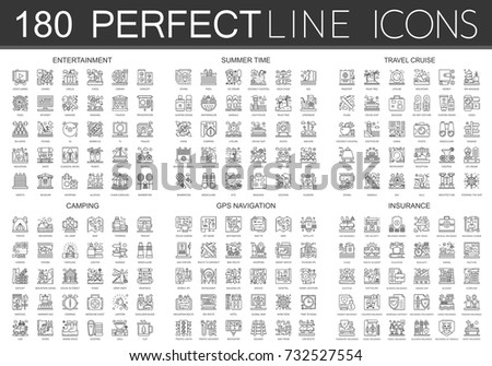 180 Outline Mini Concept Icons Symbols Stock Vector Royalty Free