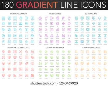 180 trendy gradient vector thin line icons set of web development, video games, 3d modeling, network technology, cloud data technology, creative process icon.