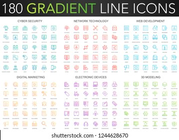 180 trendy gradient vector thin line icons set of cyber security, network technology, web development, digital marketing, electronic devices, 3d modeling icon.