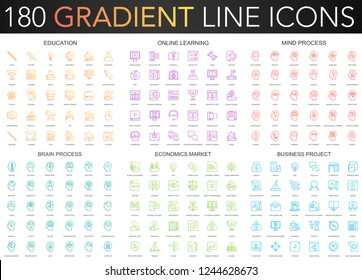180 trendy gradient vector thin line icons set of education, online learning, brain mind process, business project, economics market icon.