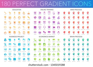 180 trendy perfect gradient icons set of education, online learning, brain mind process, business project, economics market.