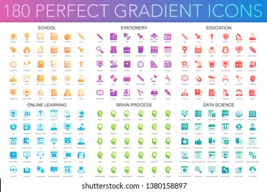 180 trendy perfect gradient icons set of school, stationery, education, online learning, brain process, data science icons.