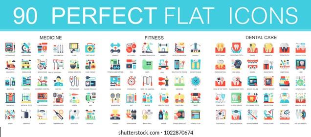 180 vector complex flat icons concept symbols of medicine, sport fitness, dental care. Web infographic icon design.