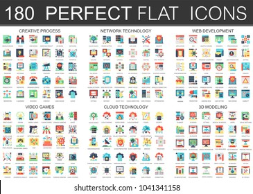 180 vector complex flat icons concept symbols of creative process, network technology, web development, video games, cloud technology, 3d modeling. Web infographic icon design.