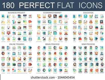 180 vector complex flat icons concept symbols of business project, economics market, education, online training, brain process, mind process. Web infographic icon design.
