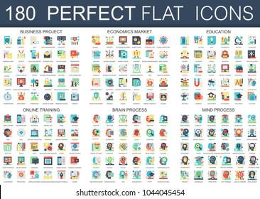 180 vector complex flat icons concept symbols of business project, economics market, education, online training, brain process, mind process. Web infographic icon design.
