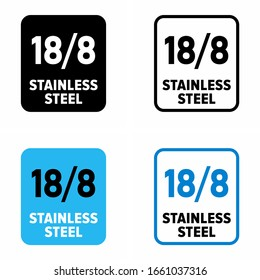"""""""18/8 stainless steel"""" food grade corrosion resistant inox information sign"""