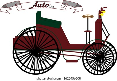 1895 retro car of red color, four-wheel with steering wheel and headlights