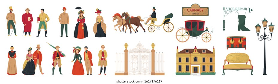 18th 19th century old town fashion set with isolated icons of furniture buildings and human characters vector illustration