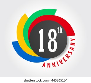 18th Anniversary celebration background, 18 years anniversary card illustration - vector eps10