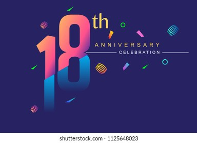 18th anniversary celebration with colorful design, modern style with ribbon and colorful confetti isolated on dark background, for birthday celebration
