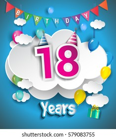 18th Anniversary Celebration Design, with clouds and balloons, confetti. Vector template elements for your, eighteen years birthday celebration party.