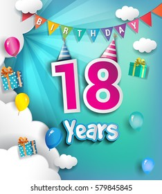 18th Anniversary Celebration Design, with clouds and balloons. using Paper Art Design Style, Vector template elements for your, eighteen years birthday celebration party.