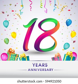18th Anniversary Celebration Design, with gift box, balloons and confetti, Colorful Vector template elements for your, eighteen years birthday celebration party.