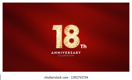 18th Anniversary celebration - Golden numbers with red fabric background