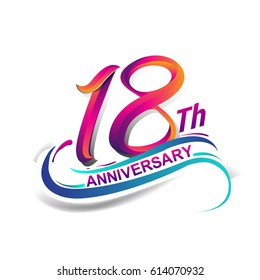 18th anniversary celebration logotype blue and red colored. eighteen years birthday logo on white background.