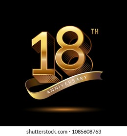 18th Anniversary celebration logotype colored with shiny gold, using ribbon and isolated on black background