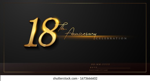 18th anniversary celebration logotype with handwriting golden color elegant design isolated on black background. vector anniversary for celebration, invitation card, and greeting card.
