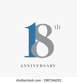 18th anniversary celebration overlapping number blue and grey simple logo, isolated on grey background