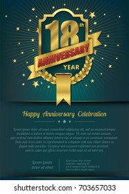 18th Anniversary celebration template design , 18 year anniversary design of elements, dark green or Turquoise blue background - vector illustration