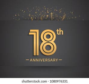 18th anniversary design for company celebration event with golden multiple line and confetti isolated on dark background