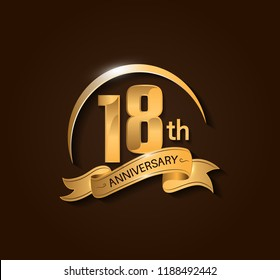 18th Anniversary design logotype. Anniversary logo design with swoosh and elegance golden ribbon. Vector template for use celebration, invitation card, and greeting card