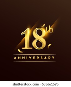 18th anniversary glowing logotype with confetti golden colored isolated on dark background, vector design for greeting card and invitation card.