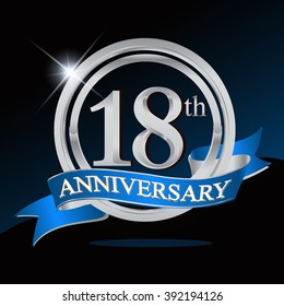 18th anniversary logo with blue ribbon and silver ring, vector template for birthday celebration.