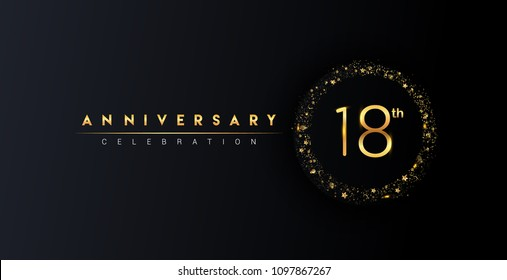 18th anniversary logo with confetti and golden glitter ring isolated on black background, vector design for greeting card and invitation card.