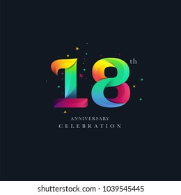 18th Anniversary Logo Design, Number 18 Icon Vector Template.