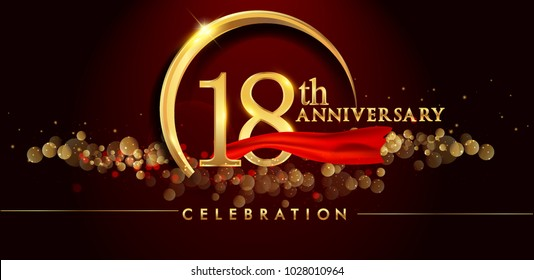 18th anniversary logo with golden ring, confetti and red ribbon isolated on elegant black background, sparkle, vector design for greeting card and invitation card