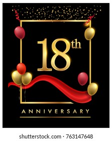 18th anniversary logo with red ribbon  and confetti golden colored isolated on elegant background, vector design for greeting card and invitation card