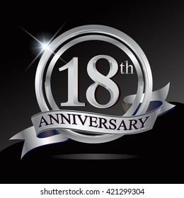 18th anniversary logo with silver ring and ribbon. Vector design template elements for your birthday celebration.