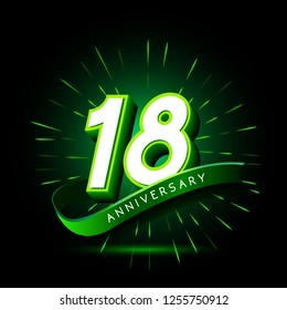 18th anniversary neon text vector design template. green number neon logo, light banner design element colorful design trend, night bright advertising neon text anniversary event party template