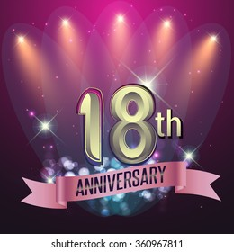 18th Anniversary, Party poster, banner or invitation - background glowing element. Vector Illustration.