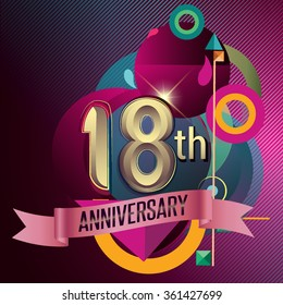 18th Anniversary, Party poster, banner and invitation - background geometric glowing element. Vector Illustration