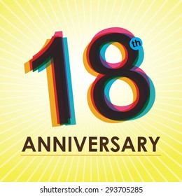 18th Anniversary poster / template design in retro style - Vector Background