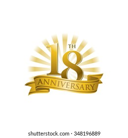 18th anniversary ribbon logo with golden rays of light
