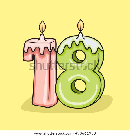 18th Birthday Candle Number Vector Design Template Elements For Your Celebration