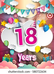 18th Birthday Celebration greeting card Design, with clouds and balloons. Vector elements for the celebration party of eighteen years anniversary