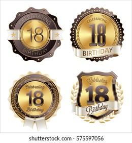 18th Birthday Celebration. Set of Birthday Badges.