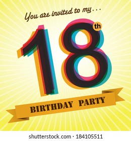 18th Birthday party invite / template design in retro style - Vector Background