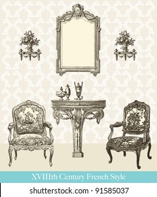 """18th century style interior - Vintage engraved illustration - """"Le Mobilier"""" Ed.Edouard Rouveyre  in 1915 France"""