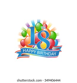 18th colorful happy birthday logo with balloons and burst of light