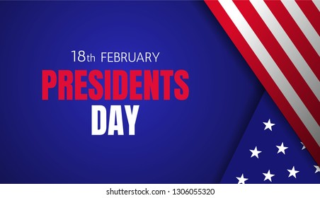 18th february Presidents day banner design with flag elements