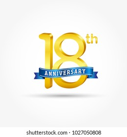 18th golden Anniversary logo with blue ribbon isolated on white background. 3d gold 18th Anniversary logo