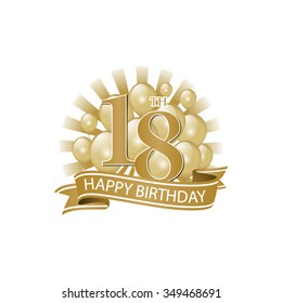 18th golden happy birthday logo with balloons and burst of light