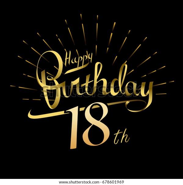18th Happy Birthday Logo Beautiful Greeting Stock Vector